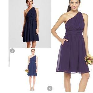 Tevolio 2 dark navy one shoulder chiffon dress